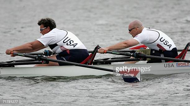 Adaptive Double Sculls winners Angela Madsen and Scott Brown of the USA in action during the finals of FISA World Rowing Championships 2006 on August...