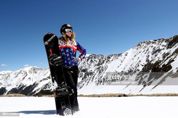 Adaptive snowboarder Paralympian motivational speaker and actress Amy Purdy poses for a portrait while snowboarding at Arapahoe Basin on May 12 2017...