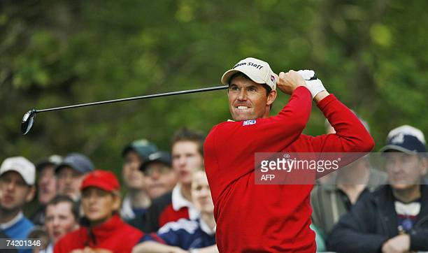 Padraig Harrington of Ireland tees off the 14th hole 20 May 2007 during the final round of the Irish Open at the Adare Manor Hotel and Golf Resort in...