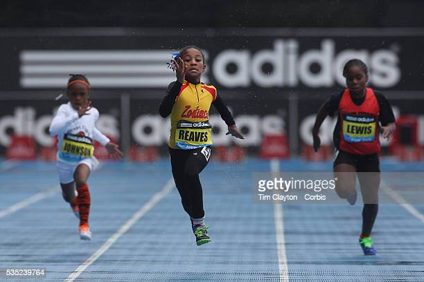 Adaria Reaves USA winning the Girls' Fastest Kid 100m during the Diamond  League Adidas Grand