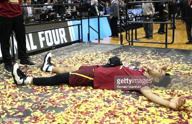 Adarius Avery of the Loyola Ramblers celebrates after defeating the Kansas State Wildcats during the 2018 NCAA Men's Basketball Tournament South...