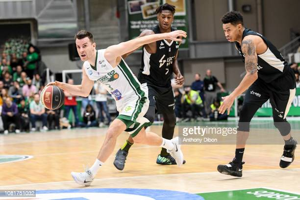 Adas Juskevicius of Nanterre Alpha Kaba and AJ Slaughter of Asvel during the Jeep Elite match between Nanterre and Lyon Villeurbanne on January 12...