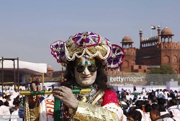Adbhut Swami a Sadhu wearing traditional dress to mark the celebration of 5151 years of the Bhagavad Gita at Red Fort Ground on December 7 2014 in...