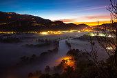 adda river valley at dawn airuno