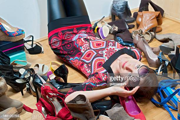 Addicted: attractive shoe lover inbetween her high heels