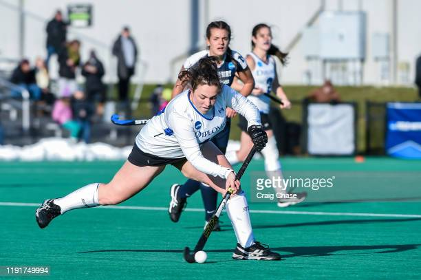 Addie Peters of Franklin Marshall passes during the Division III Women's Field Hockey Championship held at Spooky Nook Sports on November 24 2019 in...