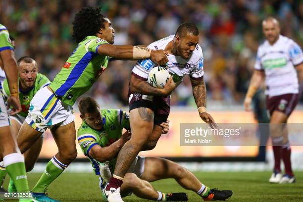 Addin FonuaBlake of the Eagles is tackled during the round eight NRL match between the Canberra Raiders and the Manly Sea Eagles at GIO Stadium on...