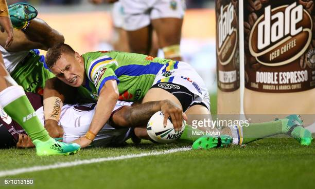 Addin FonuaBlake of the Eagles is tackled just short of the try line during the round eight NRL match between the Canberra Raiders and the Manly Sea...