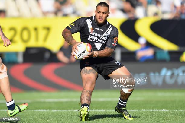 Addin FonuaBlake of the Kiwis charges forward during the 2017 Rugby League World Cup match between the New Zealand Kiwis and Scotland at AMI Stadium...