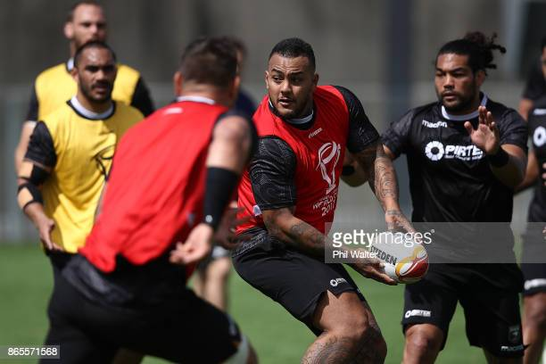Addin FonuaBlake of the Kiwi's passes during a New Zealand Kiwis Rugby League World Cup Training Session at the Warriors training Grounds on October...