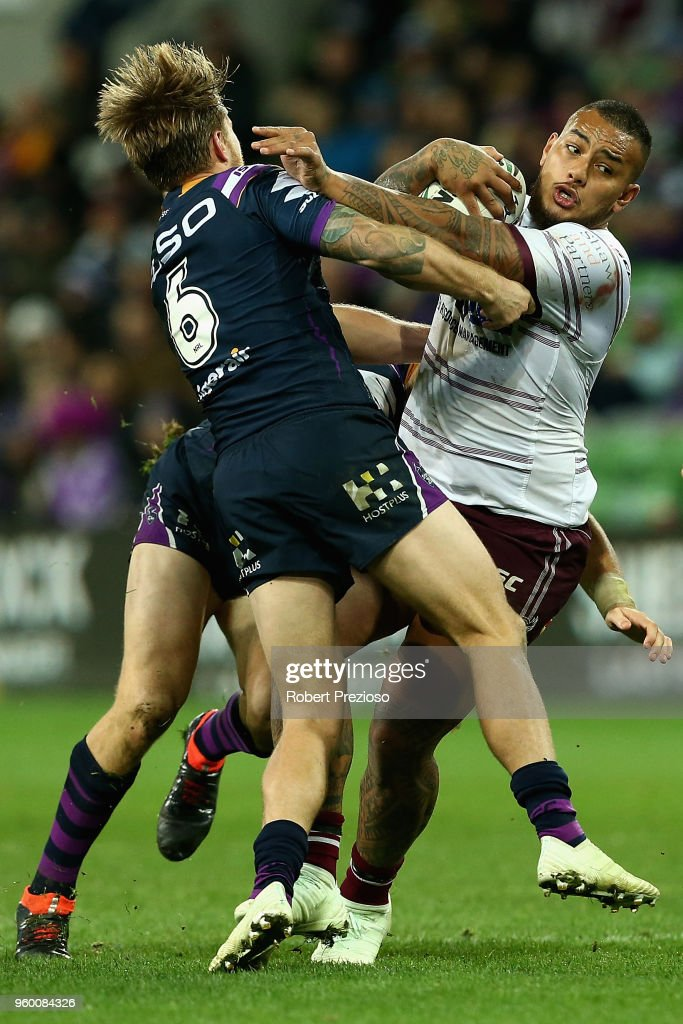 Addin Fonua-Blake of the Manly Sea Eagles is tackled during the round 11 NRL match between the Melbourne Storm and the Manly Sea Eagles at AAMI Park on May 19, 2018 in Melbourne, Australia.