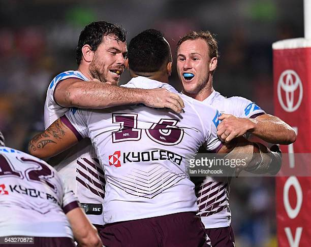 Addin FonuaBlake of the Sea Eagles celebrates after scoring a try with Daly CherryEvans of the Sea Eagles during the round 16 NRL match between the...