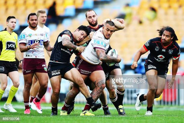 Addin FonuaBlake of the Sea Eagles charges forward during the round 25 NRL match between the New Zealand Warriors and the Manly Sea Eagles at Mt...