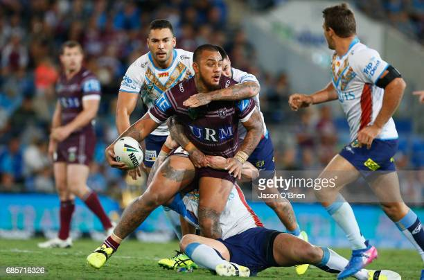 Addin Fonuablake of the Sea Eagles in action during the round 11 NRL match between the Gold Coast Titans and the Manly Sea Eagles at Cbus Super...
