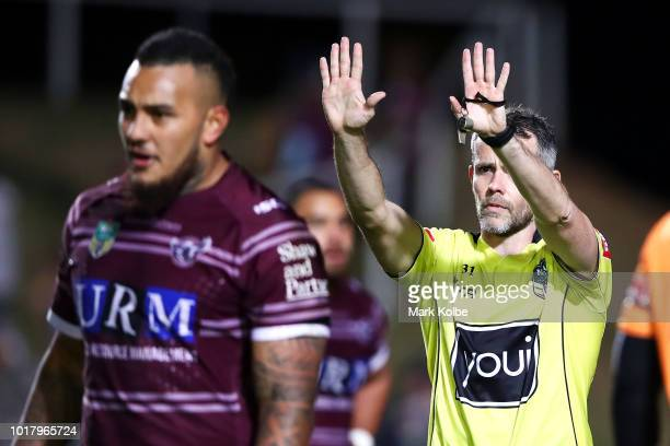 Addin FonuaBlake of the Sea Eagles is sent to the sin bin by referee Jon Stone during the round 23 NRL match between the Manly Sea Eagles and the...