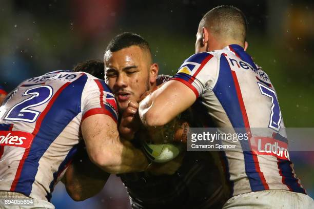 Addin FonuaBlake of the Sea Eagles is tackled during the round 14 NRL match between the Manly Sea Eagles and the Newcastle Knights at Lottoland on...