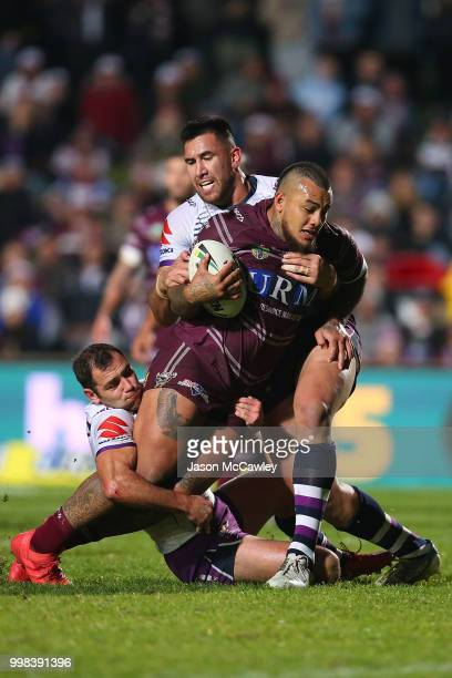 Addin FonuaBlake of the Sea Eagles is tackled during the round 18 NRL match between the Manly Sea Eagles and the Melbourne Storm at Lottoland on July...