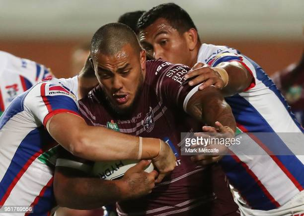 Addin FonuaBlake of the Sea Eagles is tackled during the Round eight NRL match between the ManlyWarringah Sea Eagles and the Newcastle Knights at...