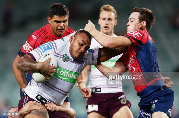 Addin FonuaBlake of the Sea Eagles is tackled during the round five NRL match between the Sydney Roosters and the Manly Sea Eagles at Allianz Stadium...