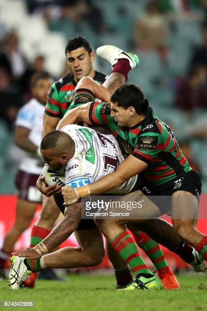 Addin FonuaBlake of the Sea Eagles is tackled during the round nine NRL match between the South Sydney Rabbitohs and the Manly Sea Eagles at Allianz...