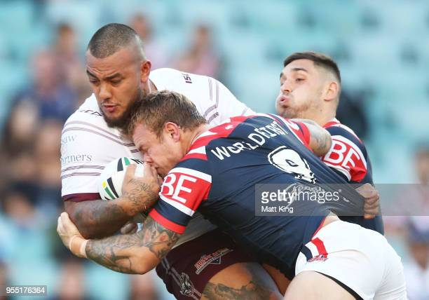 Addin FonuaBlake of the Sea Eagles is tackled during the round nine NRL match between the Sydney Roosters and the Manly Warringah Sea Eagles at...