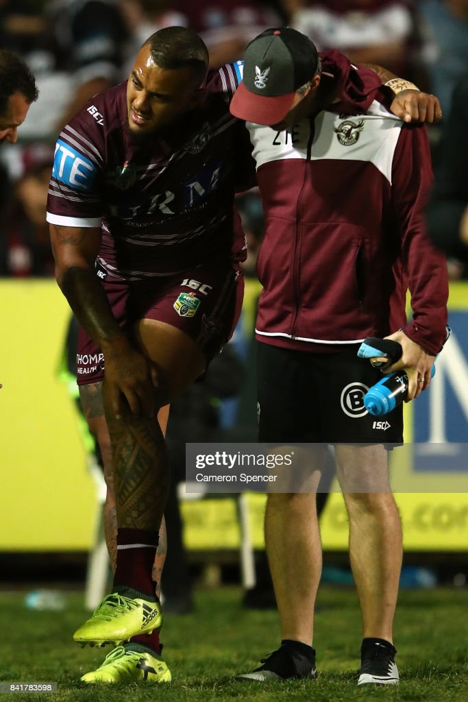 Addin Fonua-Blake of the Sea Eagles leaves the field injured during the round 26 NRL match between the Manly Sea Eagles and the Penrith Panthers at Lottoland on September 2, 2017 in Sydney, Australia.