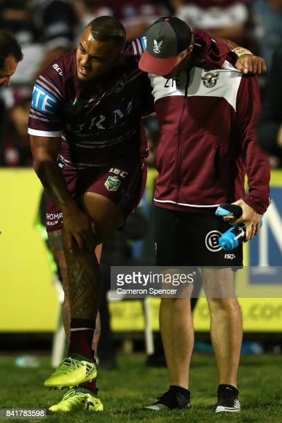 Addin FonuaBlake of the Sea Eagles leaves the field injured during the round 26 NRL match between the Manly Sea Eagles and the Penrith Panthers at...