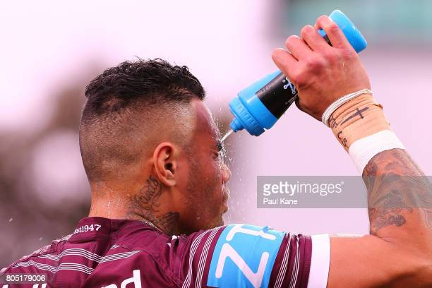 Addin FonuaBlake of the Sea Eagles warms up before the round 17 NRL match between the Manly Sea Eagles and the New Zealand Warriors at nib Stadium on...