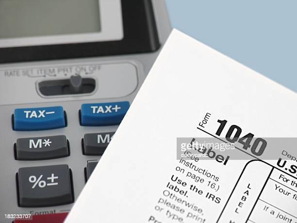 Adding Machine and 1040 Tax Form