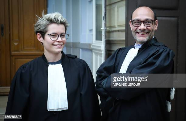 adding name lawyer L Lawyers Coline Aron and Marc Uyttendaele arrive for a session at the Appeal Court in the appeal in the case of Delphine Boel to...