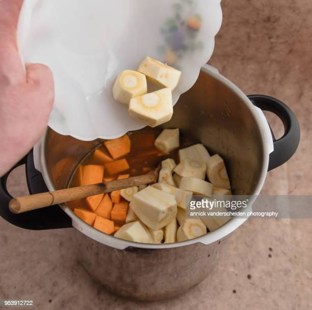 Adding parnips to beef gravy and sweet potato.