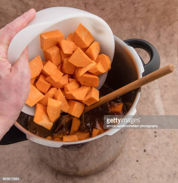 Adding sweet potato to beef gravy.