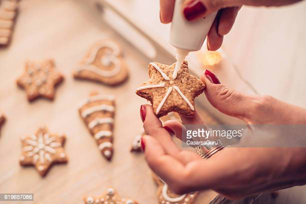 Adding the Icing on Baked Christmas Cookies