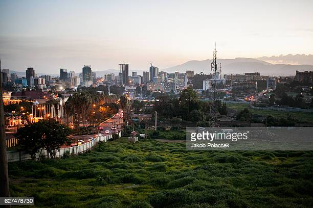 addis ababa at nightfall - ethiopia stock photos and pictures