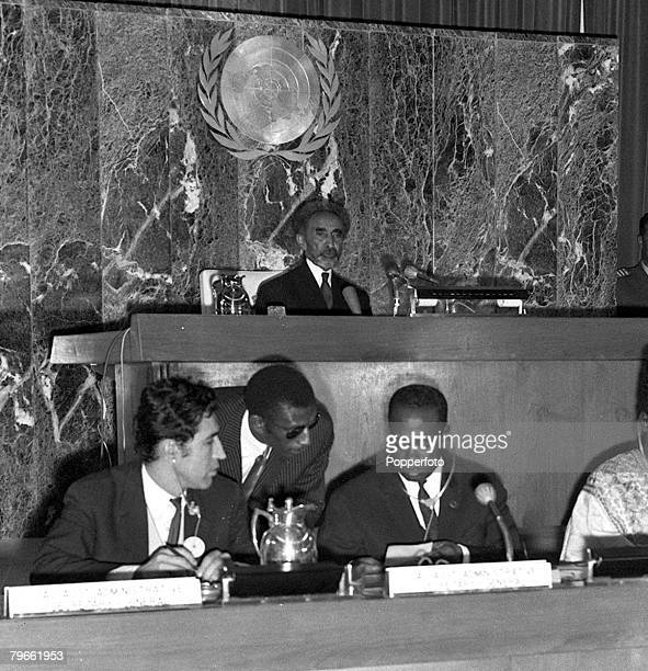 Addis Ababa Ethiopia 24th August 1970 Emperor Haile Selassie of Ethiopia presides over the Organization of African Unity