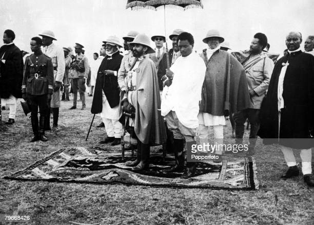 Addis Ababa Ethiopia 28th May Emperor Haile Selassie watching a parade of the Abbysinian army in preparation for conflict with Mussolini's Italian...