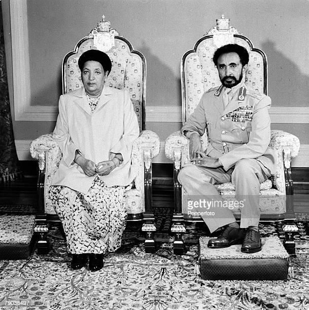 Addis Ababa Ethiopia Africa Emperor Haile Selassie the King of Abyssinia and his wife the Empress are pictured seated in his audience chamber at the...