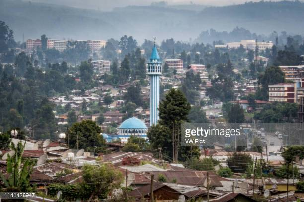 Addis Ababa, Ethiopia - Cityscape view of the Islamic Blue Mosque in Addis Ababa.