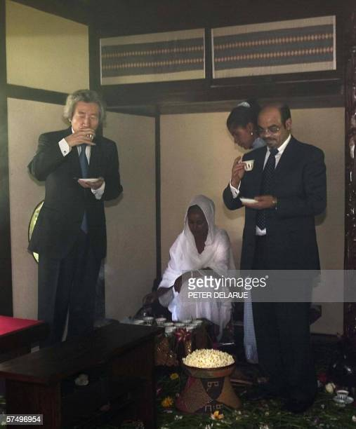 Japanese Prime Minister Junichiro Koizumi of Japan takes part with Ethiopian Prime Minister Meles Zenawi in the coffee ceremony in Addis Ababa 30...