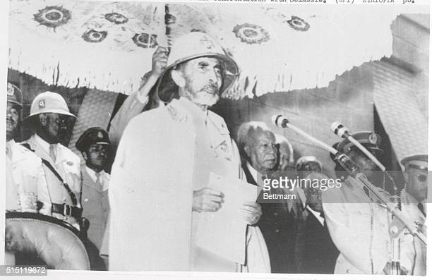 Supporters Emperor Haile Selassie addresses loyal troops Feb 27th at Jubilee Palace following a revolt by Ethiopia's armed forces for better wages...