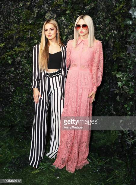 Addison Rae and Stacey Bendet attend the alice olivia by Stacey Bendet Fall 2020 presentation at Highline Stages on February 10 2020 in New York City