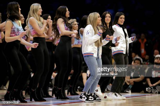 Addison Rae Charli D'Amelio and Dixie D'Amelio perform during the 2020 NBA AllStar ATT Slam Dunk Contest during State Farm AllStar Saturday Night at...