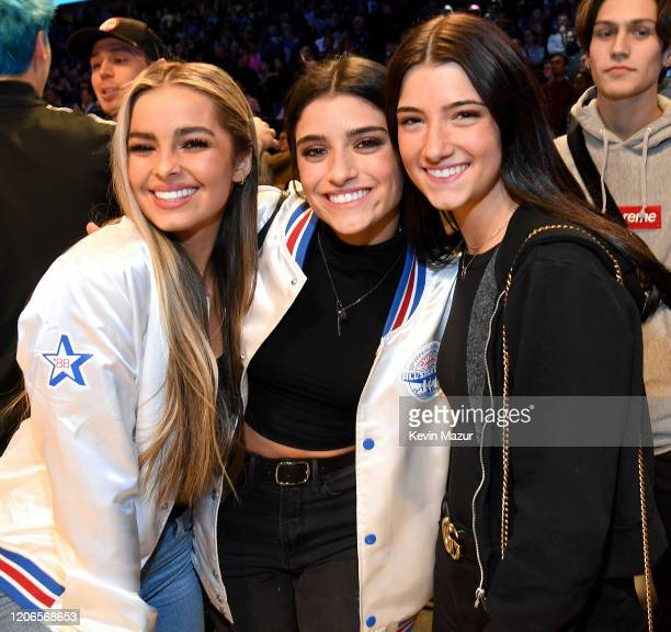 Addison Rae Dixie D'Amelio and Charli D'Amelio attend the 2020 State Farm AllStar Saturday Night at United Center on February 15 2020 in Chicago...