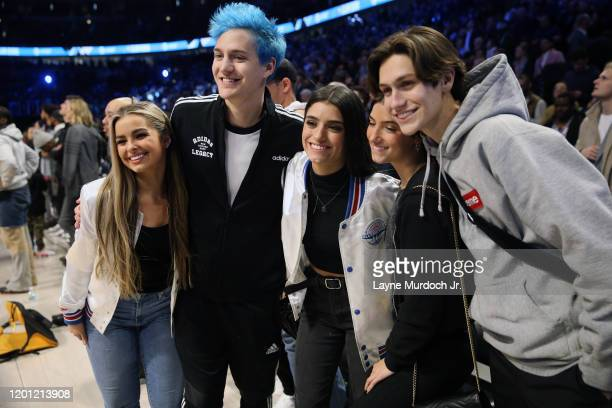 Addison Rae Easterling Ninja Dixie D'Amelio Charlie d'Amelio and Chase Hudson pose for a photo during NBA AllStar Saturday Night Presented by State...