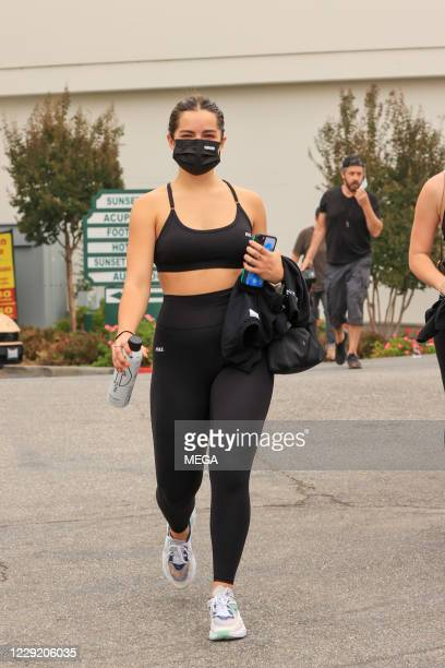 Addison Rae leaves hit hot yoga with Hailey Bieber on October 21, 2020 in Los Angeles, California.