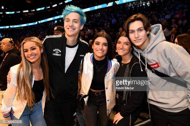 Addison Rae Ninja Dixie D'Amelio Charli D'Amelio and Chase Hudson attend the 2020 State Farm AllStar Saturday Night at United Center on February 15...