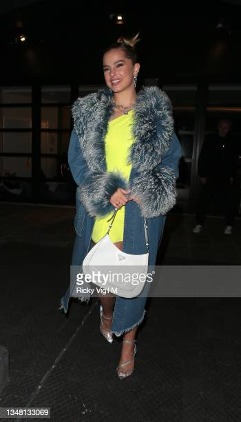 Addison Rae seen attending the Pandora ME London Launch Event at Leake street Arches on October 22, 2021 in London, England.