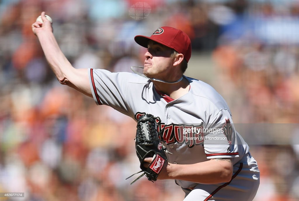Addison Reed #43 of the Arizona Diamondbacks pitches in the bottom of the ninth inning against the San Francisco Giants at AT&T Park on July 12, 2014 in San Francisco, California. The Diamondbacks won the game 2-0.