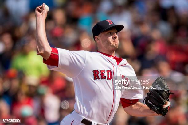 Addison Reed of the Boston Red Sox delivers during the seventh inning of a game against the Chicago White Sox on August 6 2017 at Fenway Park in...