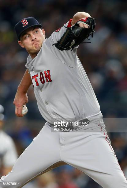 Addison Reed of the Boston Red Sox in action against the New York Yankees during a game at Yankee Stadium on September 3 2017 in the Bronx borough of...
